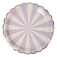 8 assiettes carton rayures mauve