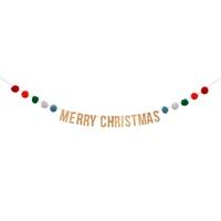 Guirlande Joyeux Noel à pompons