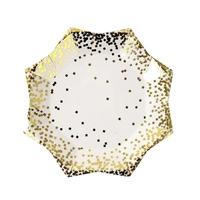 8 assiettes dessert carton confettis dorés