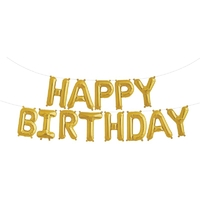 Ballon mylar lettre Happy Birthday doré
