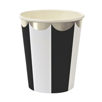 8 gobelets carton rayures noires