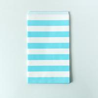 15 pochettes cadeaux papier rayures bleu clair