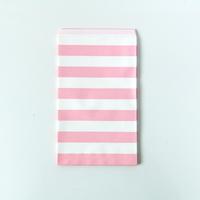 15 pochettes cadeaux papier rayures rose clair