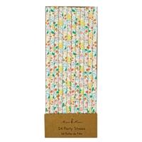 24 pailles en papier fleuries