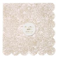 20 serviettes papier Liberty Betsy dorées