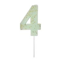Bougie anniversaire chiffre 4 vert menthe
