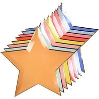 8 assiettes carton étoiles colorées