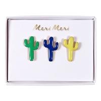 3 pins cactus en émail
