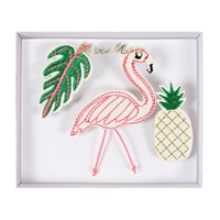3 broches brodées tropicales