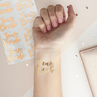 16 tatouages temporaires Team Bride rose gold