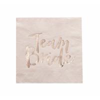 16 serviettes papier Team Bride rose blush