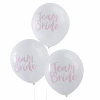 10 ballons de baudruche Team Bride en latex blanc et rose