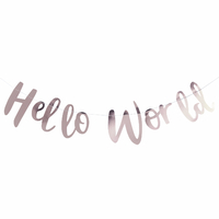 Guirlande de lettres en papier Hello World rose gold