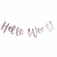 Guirlande de lettres en papier Hello World rose gold