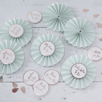 6 badges baby shower vert menthe et rose gold