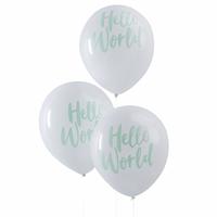 10 ballons de baudruche Hello World blanc et vert menthe