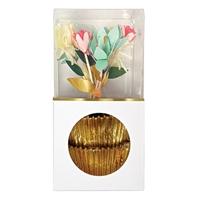 Kit 24 caissettes cupcake et pics fleurs