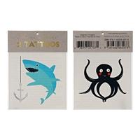 2 tatouages enfant animaux marins