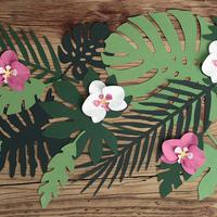 21 décorations en papier feuilles tropicales