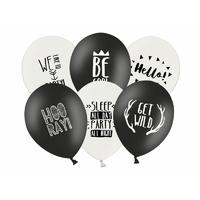 50 ballons de baudruche imprimés noir et blanc