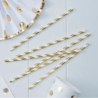 25 pailles à rayures en papier doré métallisé