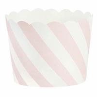 24 moules à cupcakes rigide en papier rayé rose
