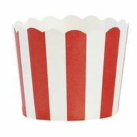 24 caissettes à cupcakes en papier rigide rayé rouge