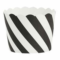 24 moules à cupcakes rigide en papier rayé noir