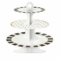 Présentoir cupcake cake stand 3 étages noir et blanc