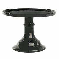 Plat à gâteau sur pied porcelaine noire - diamètre 25 cm