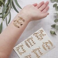 12 tatouages temporaires mariage rose gold