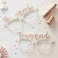 8 lunettes en papier rose gold Team Bride