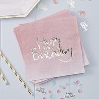20 serviettes en papier rose pastel ombré