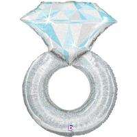 Ballon mylar bague de fiançailles holographique