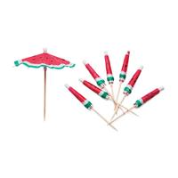 24 piques parasol cocktail pastèque