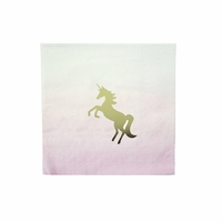 16 serviettes cocktail licorne pastel