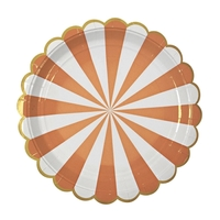 8 assiettes carton rayures orange