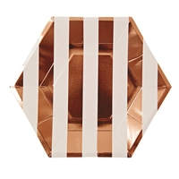 8 assiettes carton larges rayures rose gold