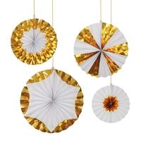 4 suspensions rosaces en papier rigide blanc et doré