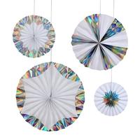 4 rosaces papier rigide blanc et holographique