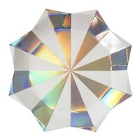8 assiettes carton découpe étoile rayures argent