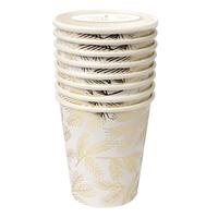 8 gobelets carton aiguilles de pin dorées