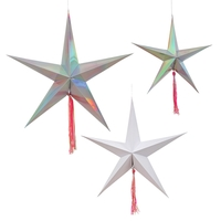 3 suspensions papier étoile filante