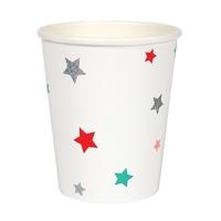 8 gobelets carton étoiles colorées