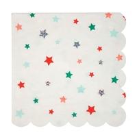 16 serviettes papier étoiles colorées