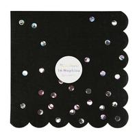 16 serviettes papier noir pois holographiques