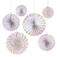 6 rosaces papier iridescentes