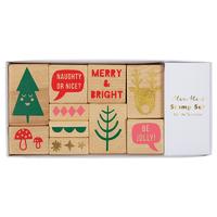 Set de 10 tampons Noël en bois