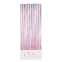 24 pailles papier irisé