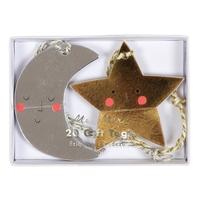 20 étiquettes cadeau étoile et lune